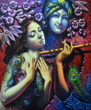 Religious Acrylic Art Painting title 'Radha Krishna 1' by artist Prashanta Nayak