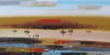 Abstract Acrylic Art Painting title 'Abstract Landscape 6' by artist Reba Mandal