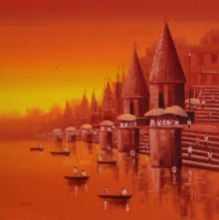 Reba Mandal | Oil Painting title Banaras Ghat 17 on Canvas | Artist Reba Mandal Gallery | ArtZolo.com