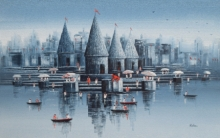 Reba Mandal | Oil Painting title Banaras Ghat 18 on Canvas | Artist Reba Mandal Gallery | ArtZolo.com