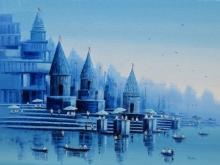 Reba Mandal | Oil Painting title Banaras Ghat 23 on Canvas | Artist Reba Mandal Gallery | ArtZolo.com