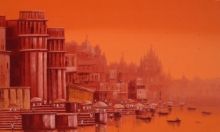 Reba Mandal | Oil Painting title Banaras Ghat 25 on Canvas | Artist Reba Mandal Gallery | ArtZolo.com