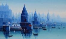 Reba Mandal | Oil Painting title Banaras Ghat 26 on Canvas | Artist Reba Mandal Gallery | ArtZolo.com