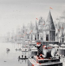 Cityscape Acrylic Art Painting title Lord Nandi At Banaras Ghat 2 by artist Reba Mandal