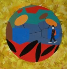 Abstract Acrylic Art Painting title Varanasi Acrylic On Canvas 24x24 Inches by artist Prasanta Acharjee