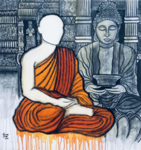 contemporary Acrylic-charcoal Art Painting title Sarnath by artist Mrinal Dutt