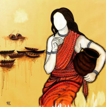 contemporary Acrylic Art Painting title Tarini by artist Mrinal Dutt