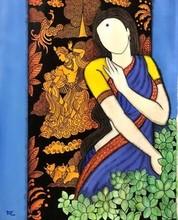 contemporary Acrylic Art Painting title RadhikaKrishna series by artist Mrinal Dutt