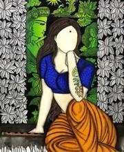 contemporary Acrylic-charcoal Art Painting title Mayuri Krishna series by artist Mrinal Dutt