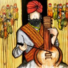 contemporary Acrylic Art Painting title Swar Lahri by artist Mrinal Dutt