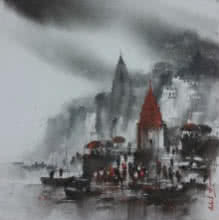 Banaras Ghat 1 | Painting by artist Ashif Hossain | acrylic | Canvas
