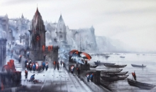Cityscape Acrylic Art Painting title 'Banaras Ghat 46' by artist Ashif Hossain