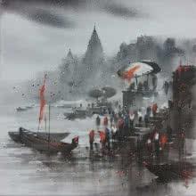 Banaras Ghat 3 | Painting by artist Ashif Hossain | acrylic | Canvas