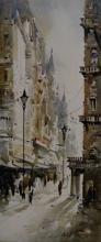 Cityscape Acrylic Art Painting title Kolkata Streets 2 by artist Ashif Hossain