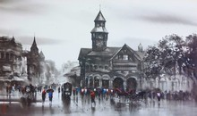 Cityscape Acrylic Art Painting title Old Bombay by artist Ashif Hossain