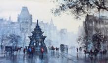 Cityscape Acrylic Art Painting title 'Old Bombay Kalaghoda' by artist Ashif Hossain