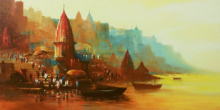 Ashif Hossain | Acrylic Painting title Banaras Ghat 7 on Canvas | Artist Ashif Hossain Gallery | ArtZolo.com
