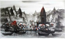 Cityscape Acrylic Art Painting title 'Banaras Ghat 53' by artist Ashif Hossain