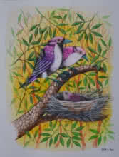 Animals Postercolor Art Painting title 'Birds painting 59' by artist Santosh Patil