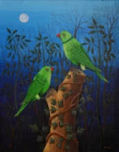 Animals Acrylic Art Painting title 'Birds Painting 102' by artist Santosh Patil