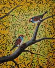 Animals Acrylic Art Painting title 'Birds Painting 101' by artist Santosh Patil