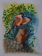 Santosh Patil Paintings | Animals Painting - Birds 73 by artist Santosh Patil | ArtZolo.com