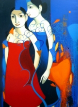 Figurative Acrylic Art Painting title Friendship Girls by artist Anand Panchal
