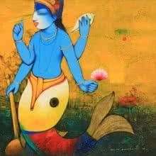art, beauty, acrylic, painting, canvas, religious, lord vishnu