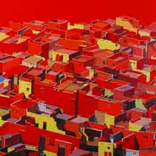 Cityscape Acrylic Art Painting title 'Untitled 10' by artist Madan Pawar