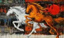 Horses 124-60x36 | Painting by artist Devidas Dharmadhikari | acrylic | Canvas