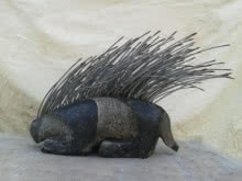 stone and metal Sculpture titled 'Porcupine' by artist Ashwam Salokhe