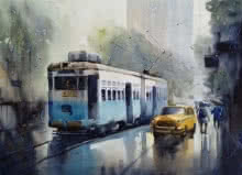 Cityscape Watercolor Art Painting title Monsoon Kolkata 2 by artist Sankar Das