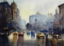 Cityscape Watercolor Art Painting title 'Monsoon Kolkata 3' by artist Sankar Das