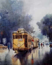Sankar Das | Acrylic Painting title Monsoon Kolkata 5 on canvas | Artist Sankar Das Gallery | ArtZolo.com