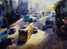 Cityscape Watercolor Art Painting title 'My City Kolkata 1' by artist Sankar Das