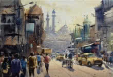Cityscape Watercolor Art Painting title 'My City Kolkata 2' by artist Sankar Das