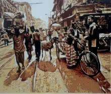 Figurative Acrylic Art Painting title Street View 2 by artist Dinesh Sharimali