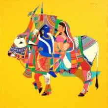 art, beauty, painting, acrylic, canvas, religious, god, radha krishna