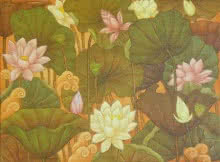 Nature Acrylic Art Painting title 'A Lotus' by artist Roy K John