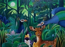 Animals Oil Art Painting title 'Animals 2' by artist Murali Nagapuzha