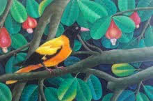 Animals Acrylic Art Painting title 'Bird 1' by artist Murali Nagapuzha