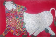 Bull - Kutch Work | Painting by artist Sreekanth Kurva | mixed-media | Canvas