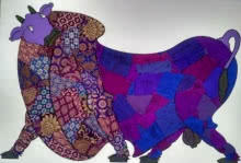 Animals Mixed-media Art Painting title 'Purple Bull Banarasi Silk' by artist Sreekanth Kurva