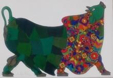 Animals Mixed-media Art Painting title Green Bull by artist Sreekanth Kurva
