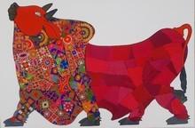 Animals Mixed-media Art Painting title Red Bull by artist Sreekanth Kurva