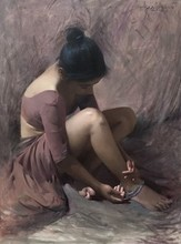 Figurative Oil Art Painting title Untitled by artist Dilip Dudhane