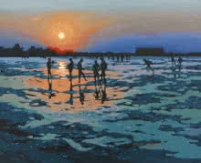 Abhijit Jadhav | Acrylic Painting title Evening At Albaag Beach on Canvas | Artist Abhijit Jadhav Gallery | ArtZolo.com