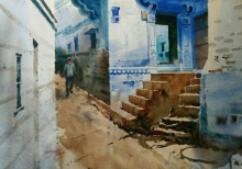 Cityscape Watercolor Art Painting title Rajasthani Blue Home by artist Abhijit Jadhav