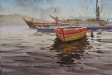 Seascape Watercolor Art Painting title Varanasi Boats by artist Abhijit Jadhav