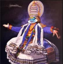 Figurative Acrylic Art Painting title 'Dance Kathakali' by artist Prashant Yampure